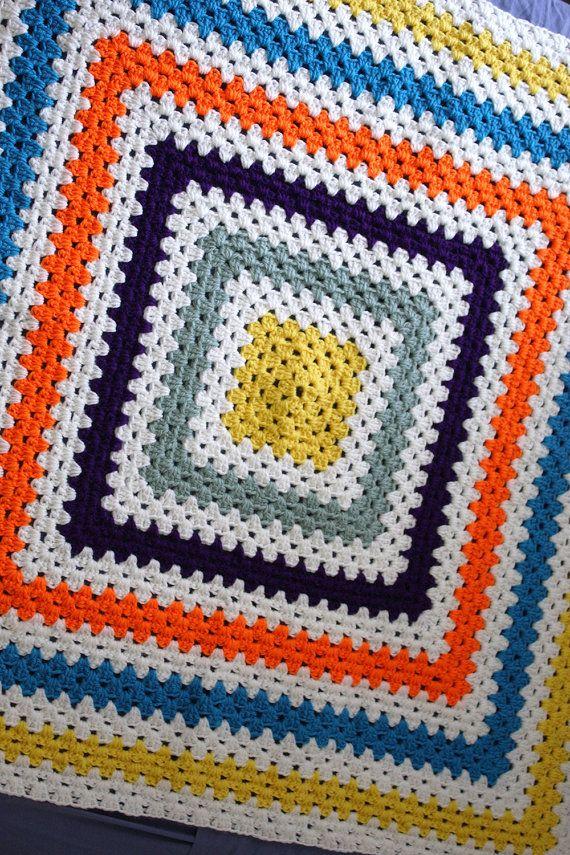 Handmade Crochet Cot Blanket Bright Stripes by DyeNumber2 on Etsy