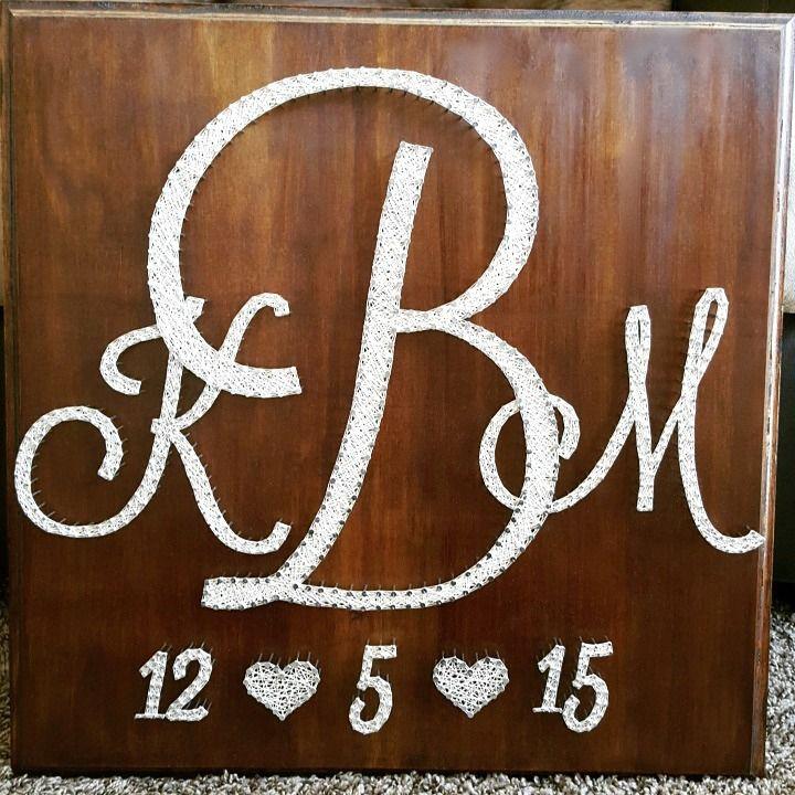 "20"" x 20"" Wedding monogram + wedding date string art"