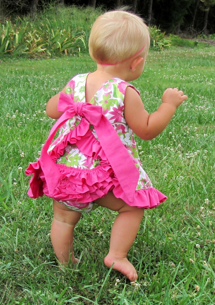 """Reversible ruffled pinafore dress. Pattern by """"Little Lizard"""". See their website to order email pattern."""