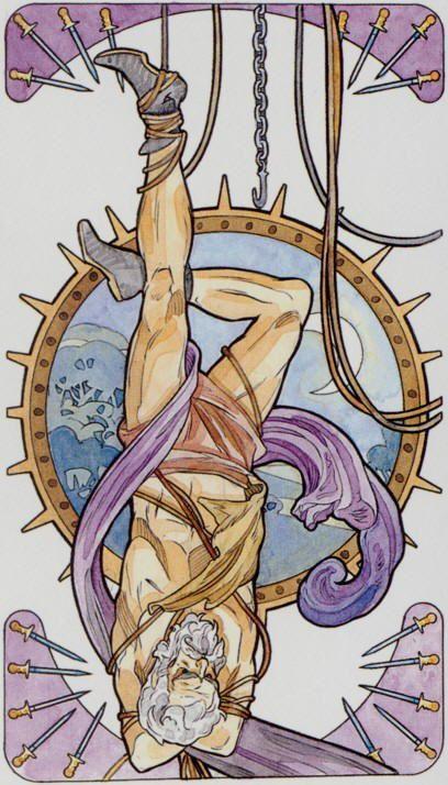 XII - Le pendu - Tarot art nouveau par Antonella Castelli