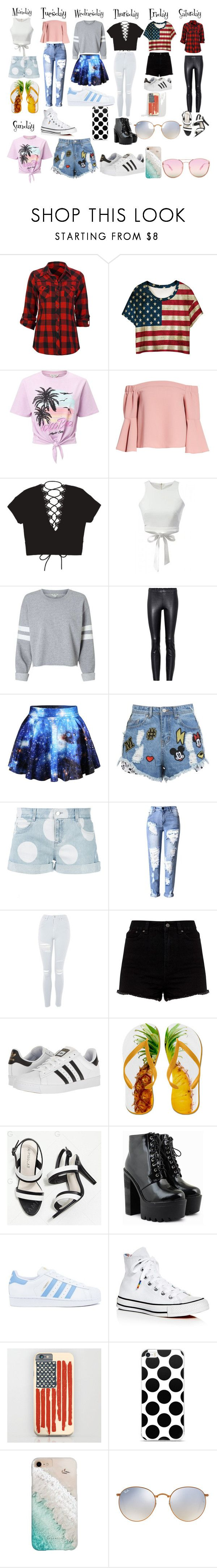 """""""outfits for the week"""" by andieok on Polyvore featuring Full Tilt, WithChic, Miss Selfridge, Topshop, STOULS, Disney Stars Studios, STELLA McCARTNEY, adidas, Converse and Gray Malin"""
