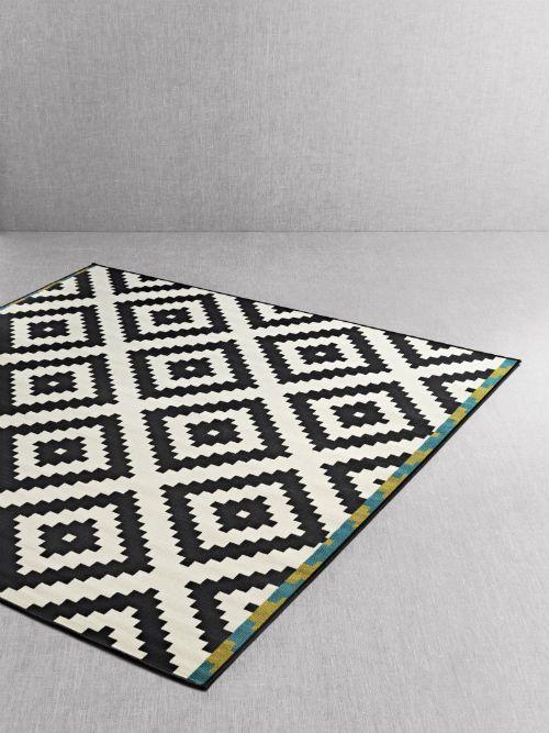 Lappljung Ruta Rug Low Pile White Black Beautiful