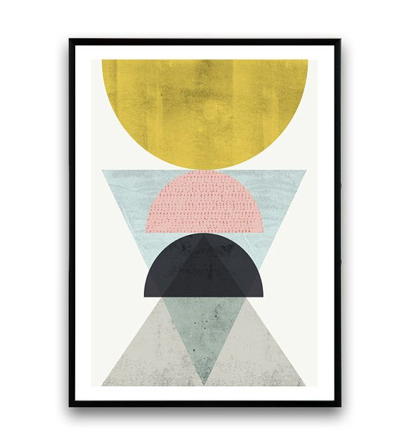 Abstract poster, Geometric art, Minimalist print, Gold abstract, Nordic design, Watercolor print, Geometric print, Modern print, colorful    Dimensions