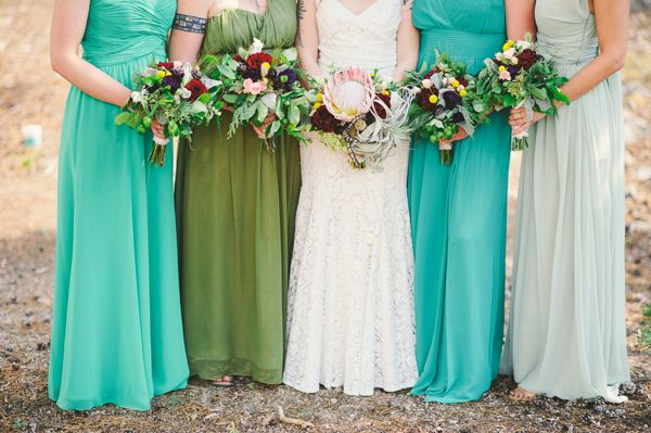 Mis-matched green bridesmaid dresses. Bohemian Indie wedding at The HideOut near Lake Tahoe. From @sarahmaren, @katewhelanevent, @cprandtents, @fvrentals, @FlourishShannon