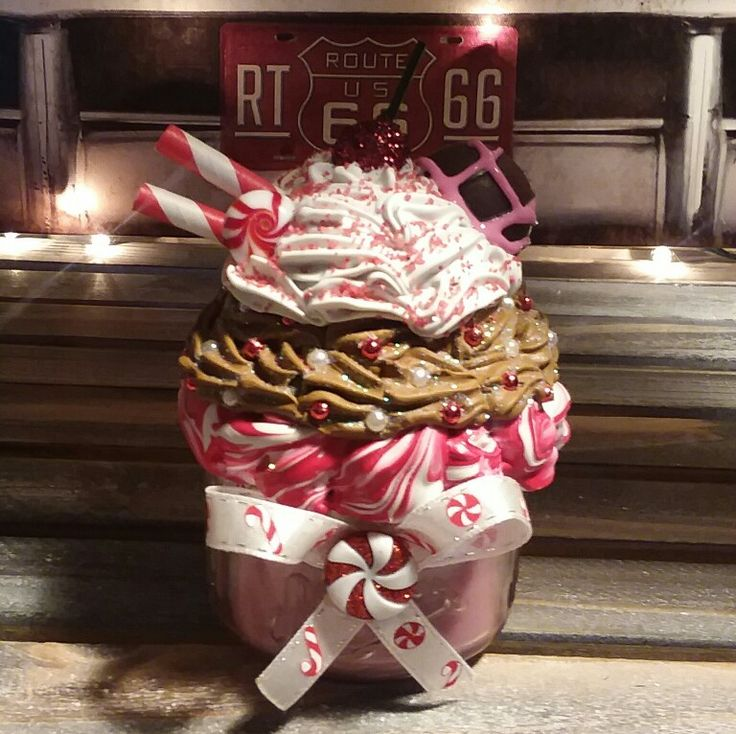 Peppermint Candle Topper #peppermint #masonjar #christmas #faux #winter #sweettops #cupcake #sundae #christmas #masonjar #topper #candlescent