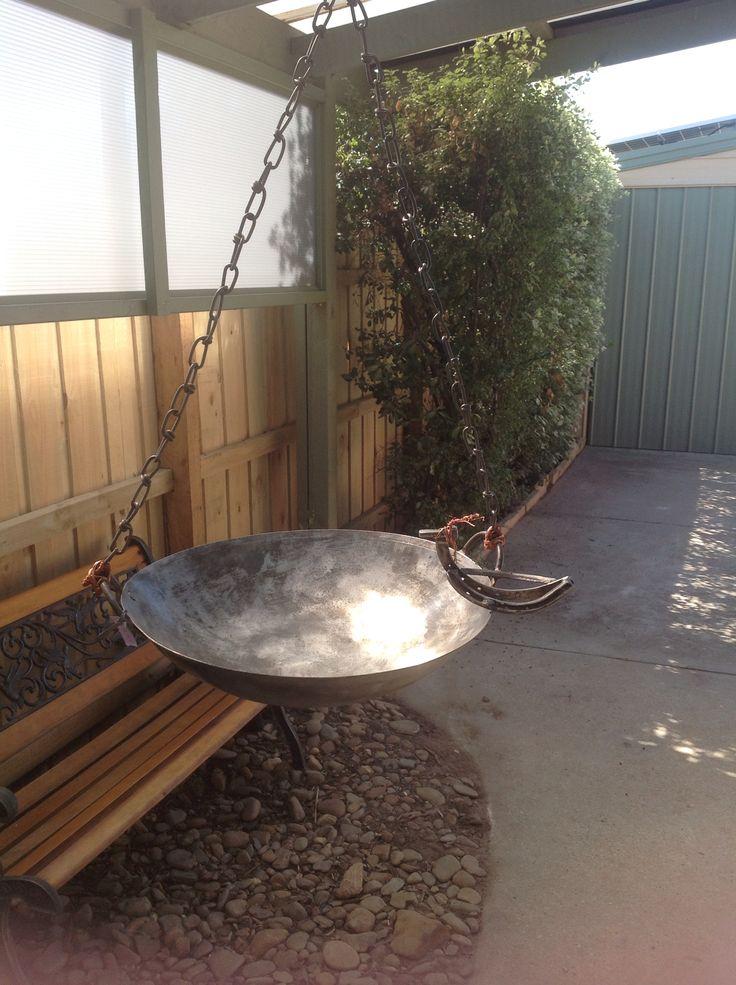 Recycled metal birdbath or bird feeder- made by Fiona verhagen