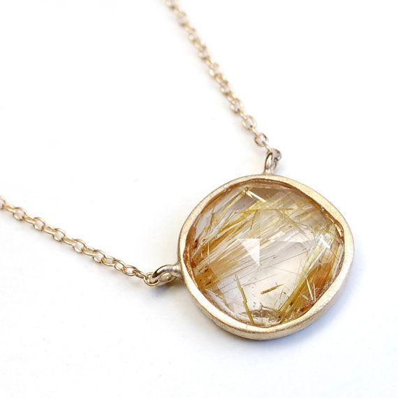 Rose Cut Necklace Rutilated Quartz Necklace Gold Necklace by NIXIN