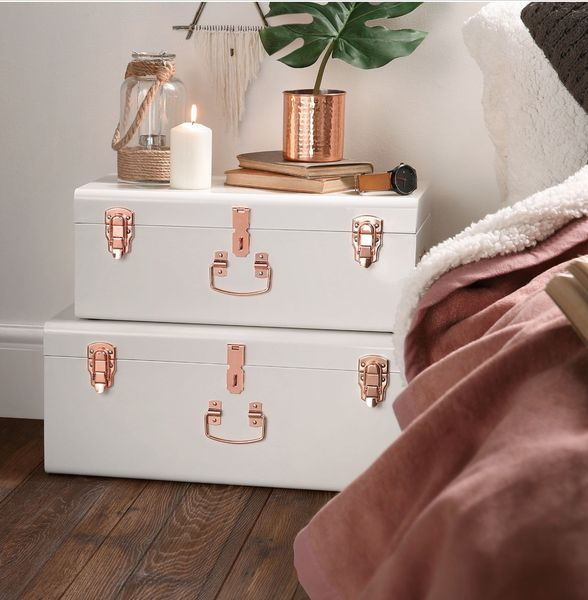 'Lovely Facebook likers' special offer on our fabulous 'MUST HAVE' vintage French old white and rose gold vintage trunks! ! Usual price £130 and now as a special offer.. ***£109*** including FREE UK DELIVERY!!! Delivery is approx 10 days from ORDER. We have a limited stock of these beautiful trunks so do get in touch to order yours! Perfect for your guest room or bedroom storage, maybe on top of your French style wardrobe, perfect in your dressing room or underneath a prett...
