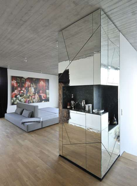 sharp mirrored interiors - Mirror Wall Designs