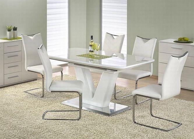 Mistral to niezwykle oryginalny stół. Podstawa stołu u samego dołu wykonana jest ze stali nierdzewnej, a dopiero na niej ustawiona jest oryginalnie prezentująca się noga zrobiona z lakierowanego na biało MDFu.