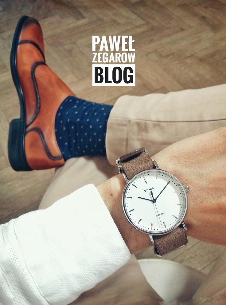 Timex Weekender Fairfield, monk shoes, dotted socks, beige chinos https://www.facebook.com/pawelzegarowblog/