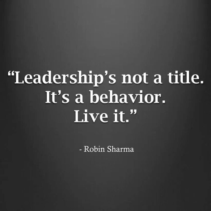 We are being leaders.
