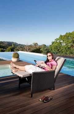 Outdoor Recliner. Read and relax in this recliner. Easy to get out off being higher off the ground than a sun lounge. Available from www.outdoorelegance.com.au