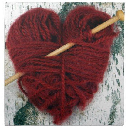Red wool heart on birch bark photograph napkin - home gifts ideas decor special unique custom individual customized individualized