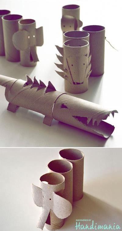 Cocodrilos, elefantes... y otros animales únicamente con rollos de papel y mucha imaginación.