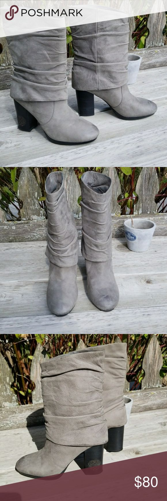 "Vince Camuto boots Vince Camuto grey slouchy top boots. I see pirate inspiration here, how about you? 😊 Leather upper with a burnished, uneven finish for a subtle distressed look. Heel height is 3.5"", the platform is 0.5"". These have minimal wear, EUC. Questions and offers welcome. Vince Camuto Shoes Heeled Boots"