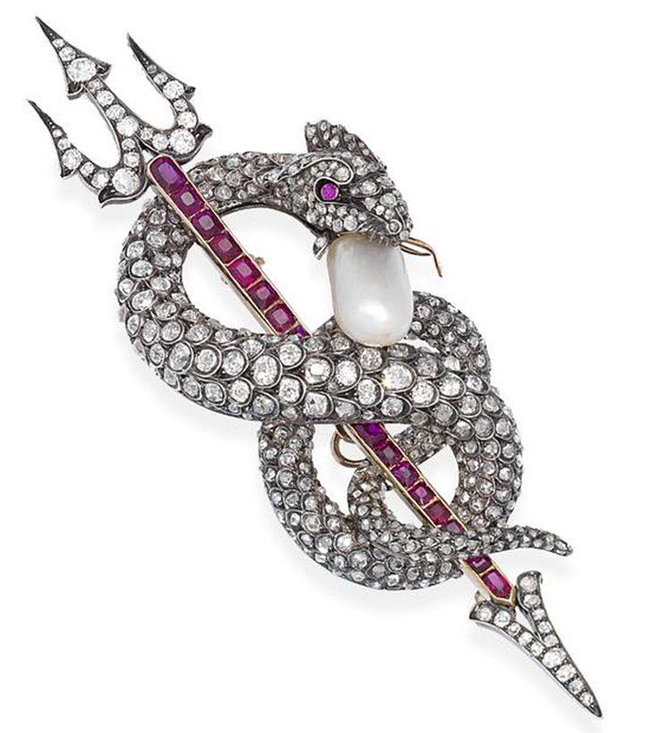 Natural pearl, diamond and ruby serpent brooch, circa 1880
