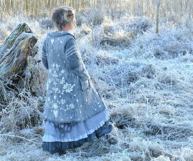 Felted grey coat with lots of embroidery