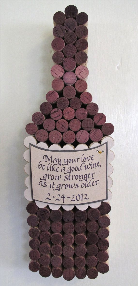 Handmade Wine Cork Wine Bottle Cork Board with Hand Cut Label with Personalized Calligraphy Quote, Add Date for Perfect Wedding Gift - on Etsy