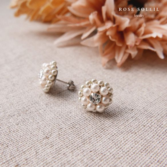Rose Soleil Jewelry Blossom Wind Collection | パールとスワロフスキークリスタルピアス