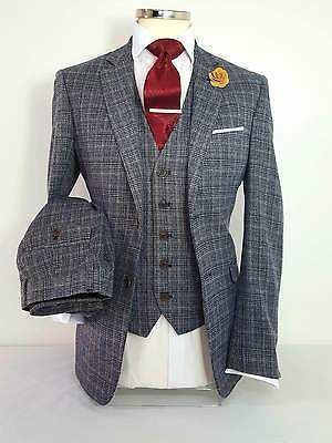 MENS 3 PIECE CHECK TWEED GREY SUIT PARTY PROM TAILORED WORK SMART WEDDING in Clothes, Shoes & Accessories, Men's Clothing, Suits & Tailoring | eBay #menweddingsuits #weddingshoes