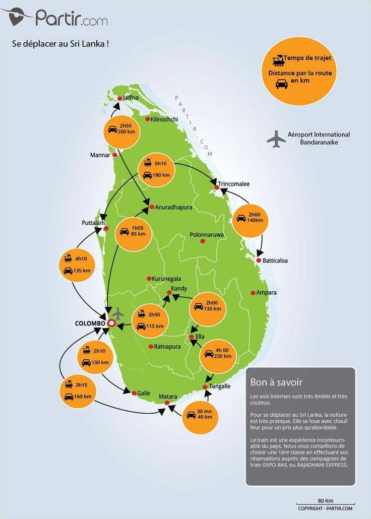 carte Sri Lanka distance et trajet