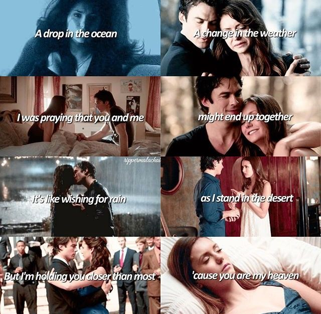 "#TVD The Vampire Diaries  Elena & Damon  ""A drop in the ocean, A change in the weather.. I was praying that you and me might end up together. It's like wishing for rain as I stand in the desert but I'm holding you closer than most 'cause you are my heaven"""