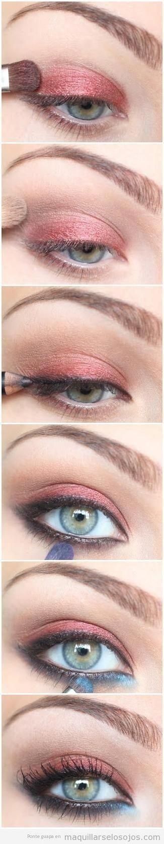 Tutorial paso a paso para maquillaje de ojos cobre y azul by tiquis-miquis #ombr…