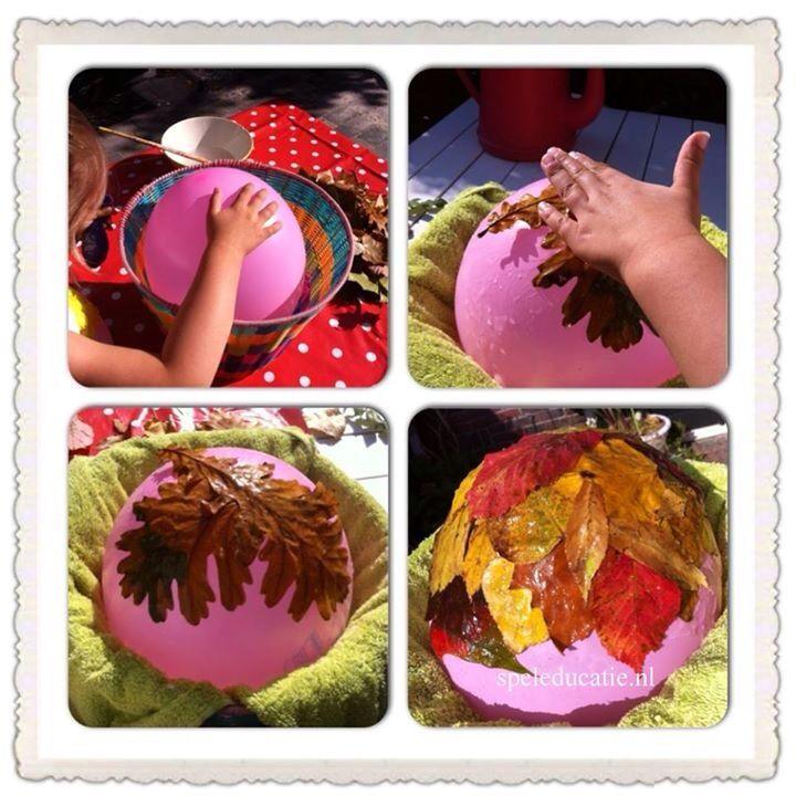 Plakken met mooi gekleurde herfstbladeren. Maak een hoed, schaal of lampion!