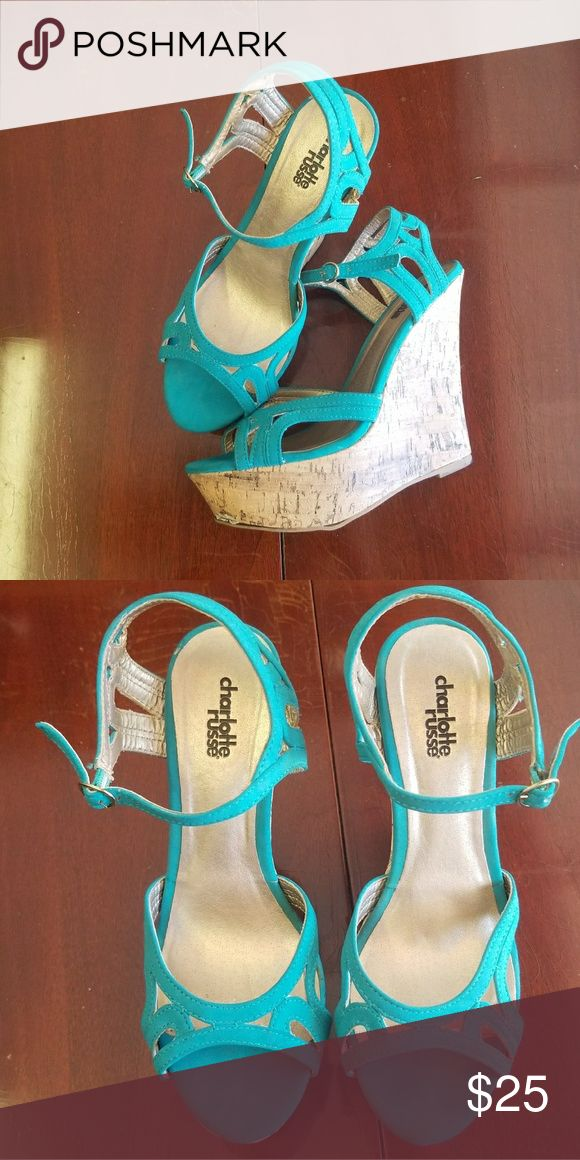 Teal wedges Good condition Size 7 Price negotiable, make an offer Charlotte Russe Shoes Wedges