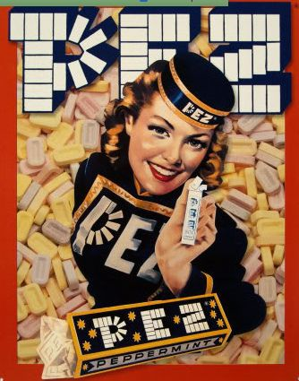 A wonderful 1930s era ad for Pez candy. Vintage Retro Advertisement Ad Art Poster Print Postcard ☮~ღ~*~*✿⊱ レ o √ 乇 !! ~
