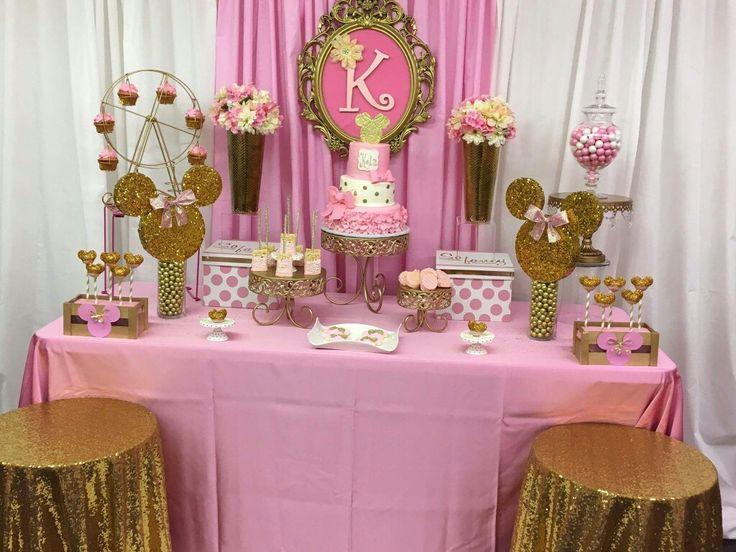 Dessert table minnie mouse theme pink and white backdrop for Backdrop para mesa de dulces