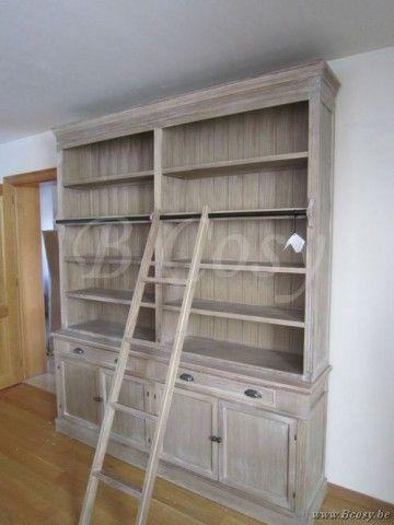 J-Line Bibliotheekkast landelijke stijl met ladder 200