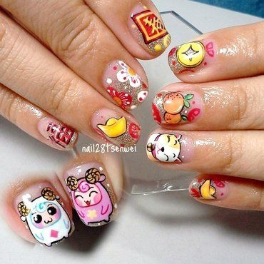 happy cny nail art by Weiwei