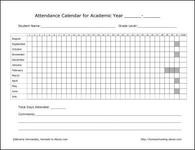 Free homeschool attendance record printable.