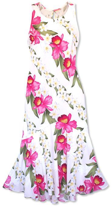 Orchid Play White Lehua Hawaiian Dress