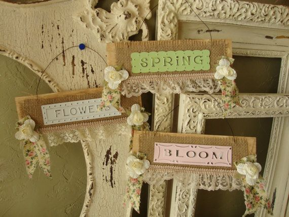 Shabby Chic Signs Burlap And Lace Home Decor Cottage