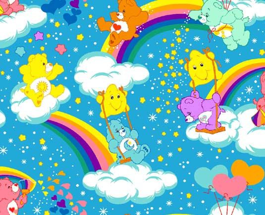 Care Bear carebear rainbows hearts Stars blue Cotton by weiselect, $8.50
