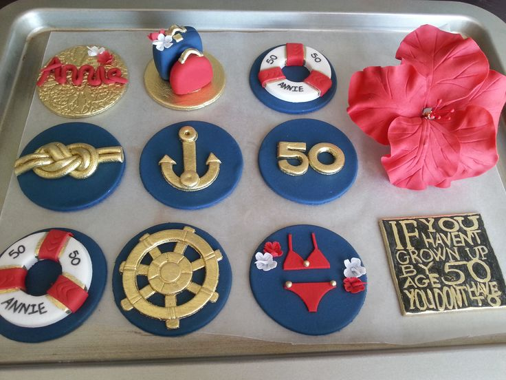 Nautical Cupcake Toppers from Cakes by Nadia