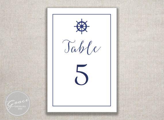 Navy Nautical Printable Table Numbers / Sailors wheel /