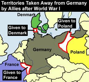In the 1919 Treaty of Versailles, the victorious powers (the United States, Great Britain, France, and other allied states) imposed punitive territorial, military, and economic provisions on defeated Germany. In the west, Germany returned Alsace-Lorraine to France. It had been seized by Germany more than 40 years earlier. Further, Belgium received Eupen and Malmedy; the industrial Saar region was placed under the administration of the League of Nations for 15 years