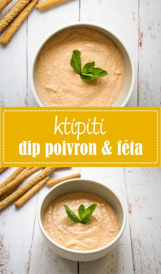 Frais, léger et rapide, la recette parfaite pour un apéro au soleil ! Ktipiti tartinade dip grecque au poivron grillé et féta, recette sur la godiche www.lagodiche.fr