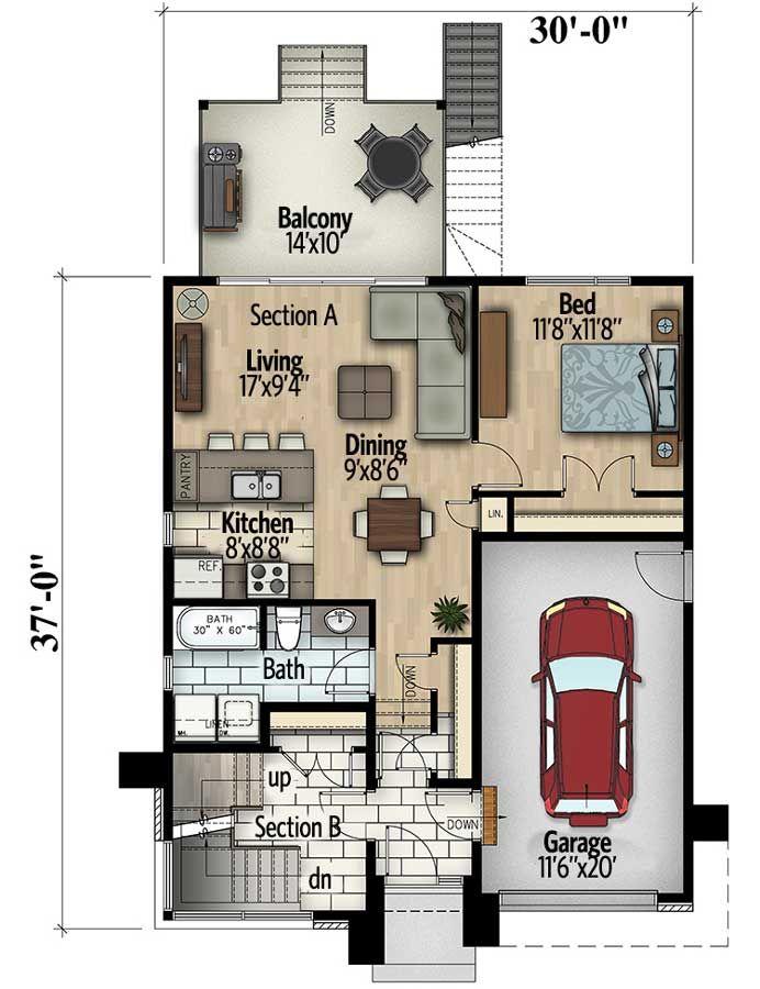 Contemporary Duplex - 90290PD floor plan - Main Level