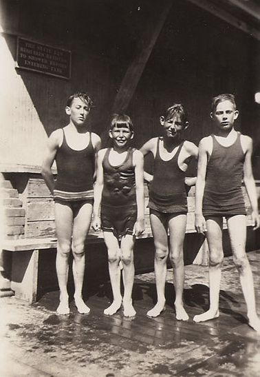 Four boys at a swimming pool - 1920s  ipernity.com