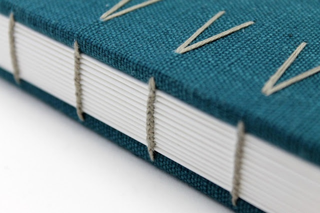 beautiful book binding coptic stitch with laced in