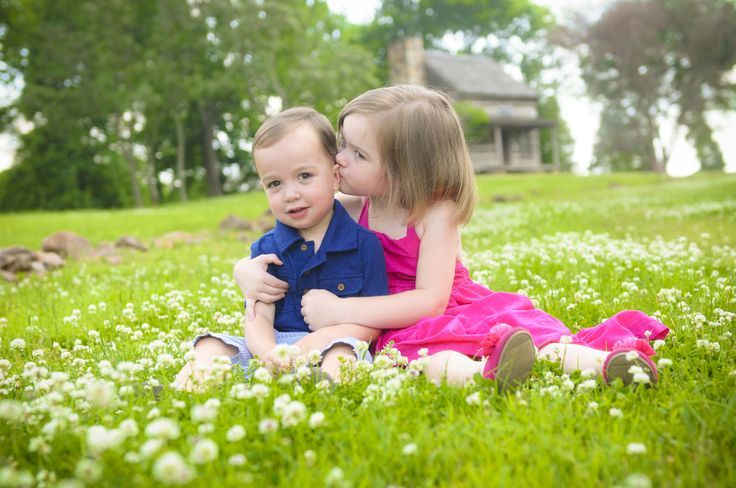 Children's Photography. Wild Flowers. Rustic Cabin. Brother and Sister. Photo by: Jennifer Tilley Photography