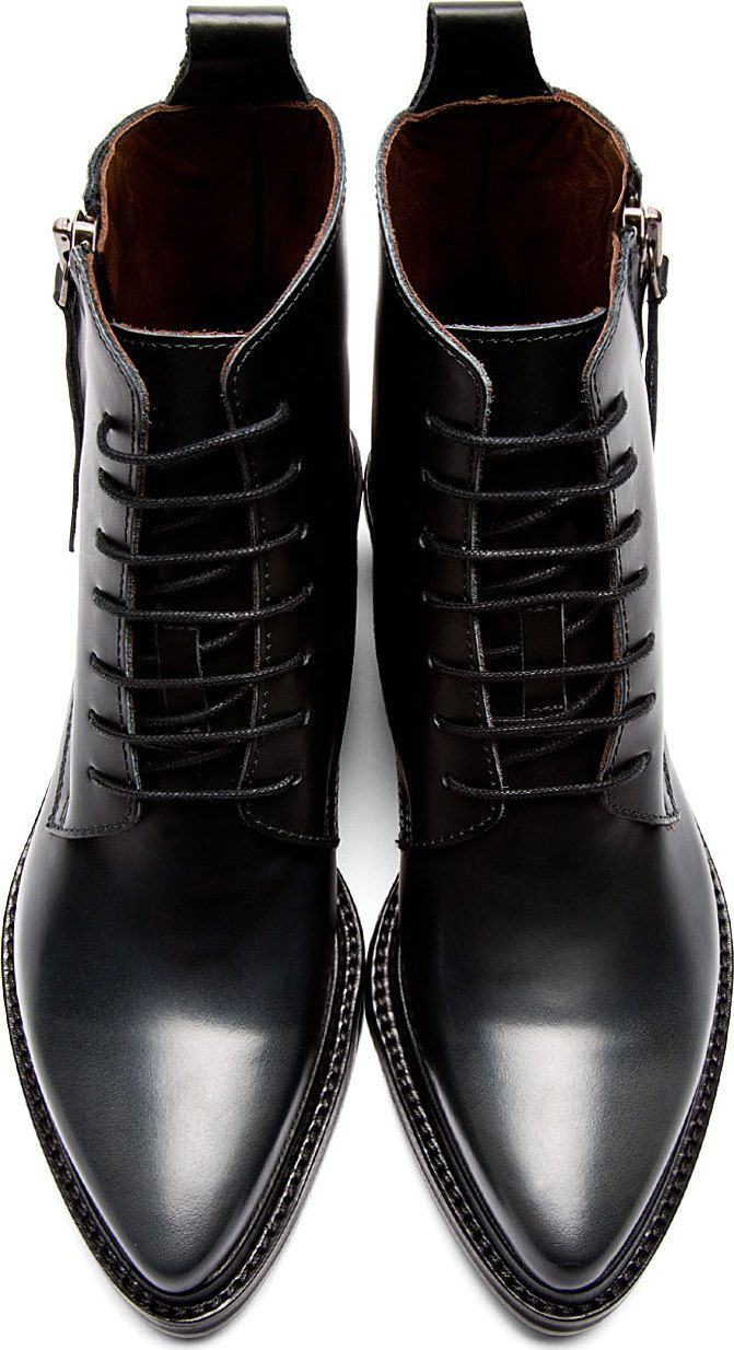 Acne Studios - Black Leather 'Linden' Pointed Boots #fashion