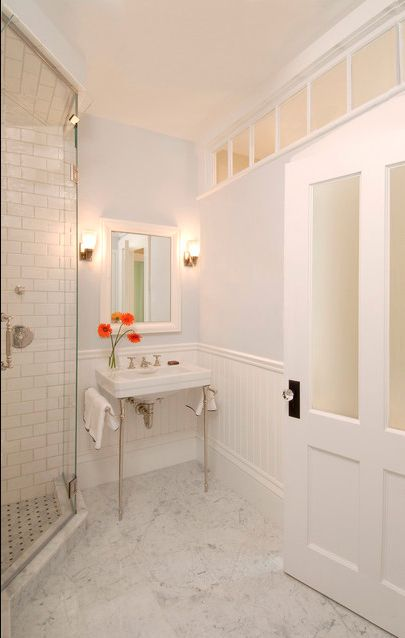 I would like an internal window like this in our bathroom, borrowing light from study