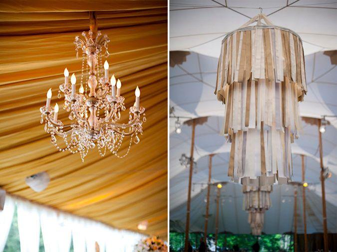 Con unas cintas de papel crepé o de seda, un bastidor de bordado y unos cables pueden convertirse en un candelabro o lámpara de araña muy decorativa para La Celebración de tu fiesta.