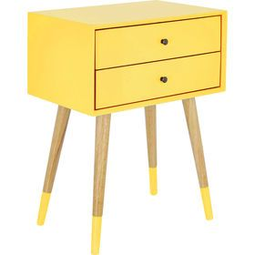Yellow Two Drawer Bedside Table
